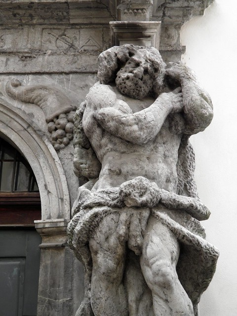 Ljubljana, portal of the Seminary Palace flanked by Hercules statues carved by Angelo Putti