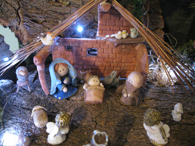 Handmade Nativity Scene Detail Holy Family Stable