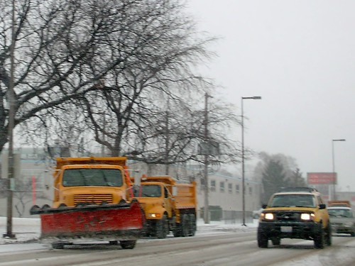 Village of Berkeley Illinois Dept of Public Works snowplow trucks on Saint Charles Road. Berkeley Illinois. January 2007. by Eddie from Chicago