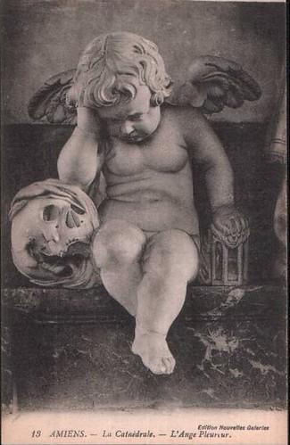Vintage Postcard ~ Angel & Skull