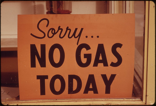 """No Gas"" Signs Were a Common Sight in Oregon During the Fall of 1973, Such as at This Station in Lincoln City Along the Coast. Many Stations Closed Earlier, Opened Later and Shut Down on the Weekends 10/1973"