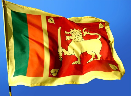 Fluttering Sri Lanka National Flag on the independence day
