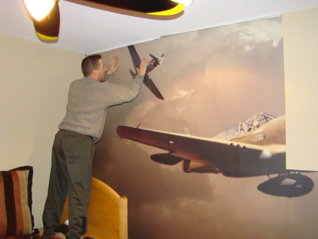 Airplane wall mural installation photos of a custom wall for Aeroplane wall mural