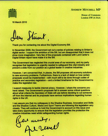 #debill deja vu - Andrew Mitchell's letter to another constituent