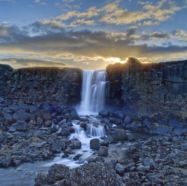 Öxarárfoss at Sunset