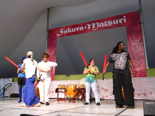 Visitors on stage and enjoying Sakura Matsuri 2010.