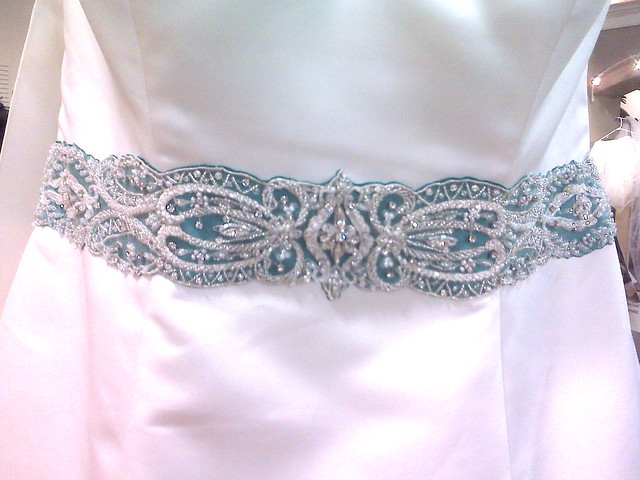 Aqua Wedding Dress Sash It 39s all in the details I went to a couture Bridal