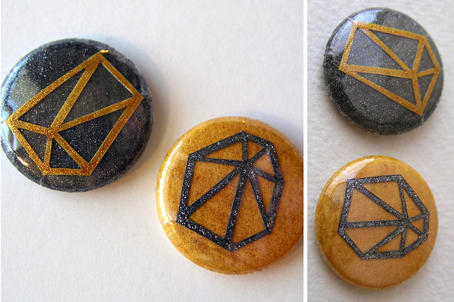 Glitter geometric button set