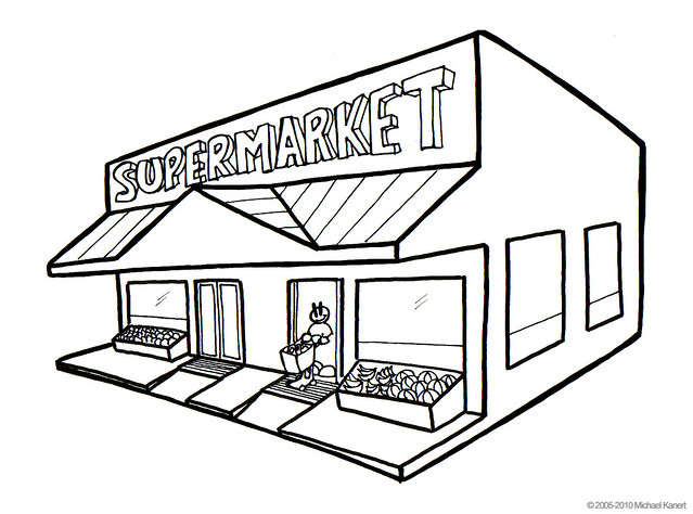 supermarket coloring pages - photo#2