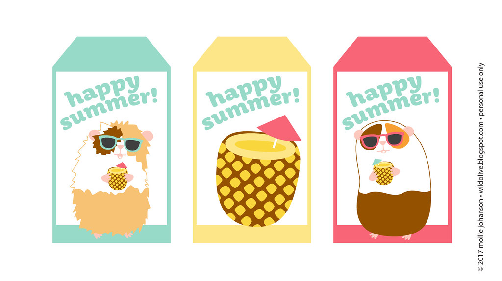 Happy Summer Printable Tags with Guinea Pigs