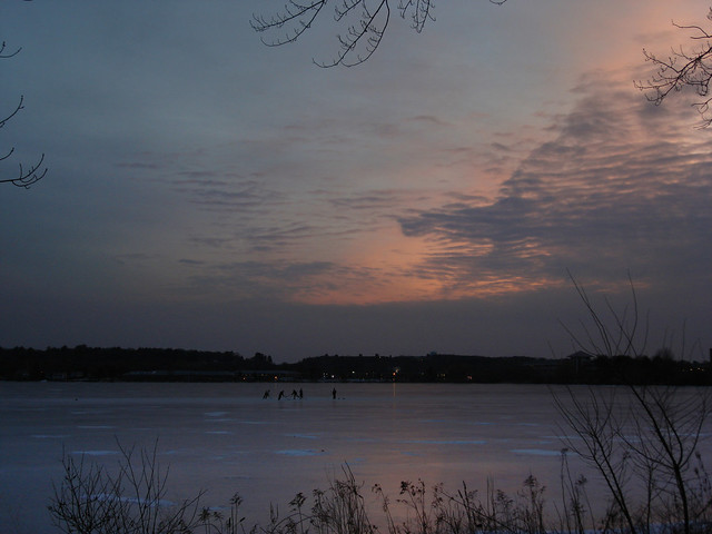 Hockey players at sunset on Lake Quannapowitt; Wakefield, MA (2010)