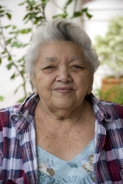 Mexican Woman With Gray Hair In Merida Yucatan Mexican