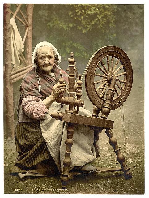[Irish spinner and spinning wheel. County Galway, Ireland] (LOC)