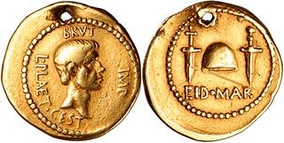 508/4 Aureus Brutus, Cap of liberty two daggers EID MAR Ides of March. British Museum new long term loan (BM photo)
