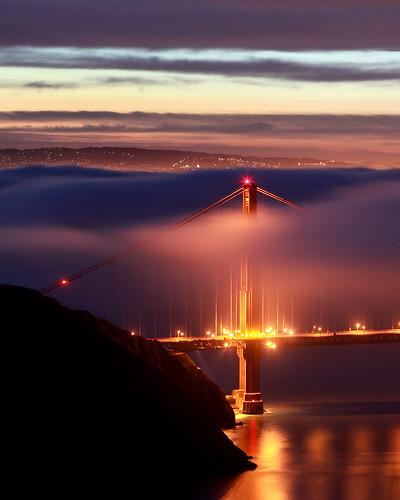 sanfrancisco california ca morning bridge usa tower fog clouds sunrise dawn golden bay gate san francisco long exposure marin low north goldengatebridge area headlands marinheadlands