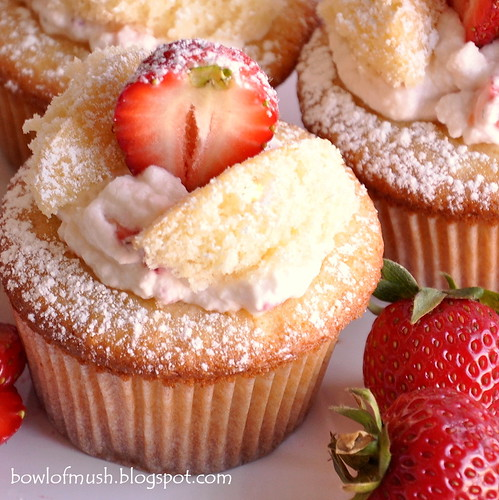 A bowl of mush strawberries cream fairy cakes for How to make fairy cupcakes