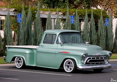 1957 chevrolet(0.0), custom car(0.0), compact car(0.0), hot rod(0.0), antique car(0.0), sedan(0.0), automobile(1.0), automotive exterior(1.0), pickup truck(1.0), vehicle(1.0), truck(1.0), chevrolet task force(1.0), land vehicle(1.0), motor vehicle(1.0),