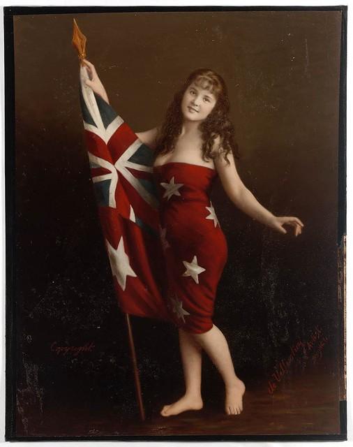 Marie-Celeste de Villentroy in Australian flag, ca. 1920 / photograph by Albert de Villentroy