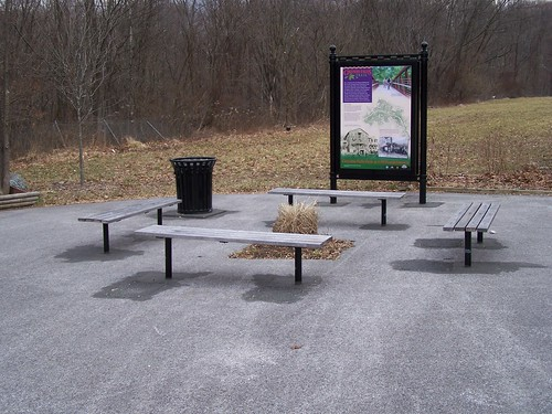 Benches and Gwynn Falls Trail interpretational sign, I-70 Trailhead