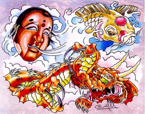 New School Tattoo Flash Dragons