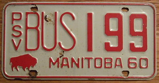MANITOBA 1960 ---PSV BUS plate ANNUAL ISSUE