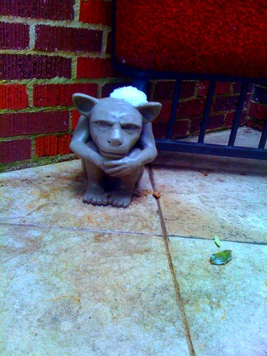 Gargoyle with snow drift hat