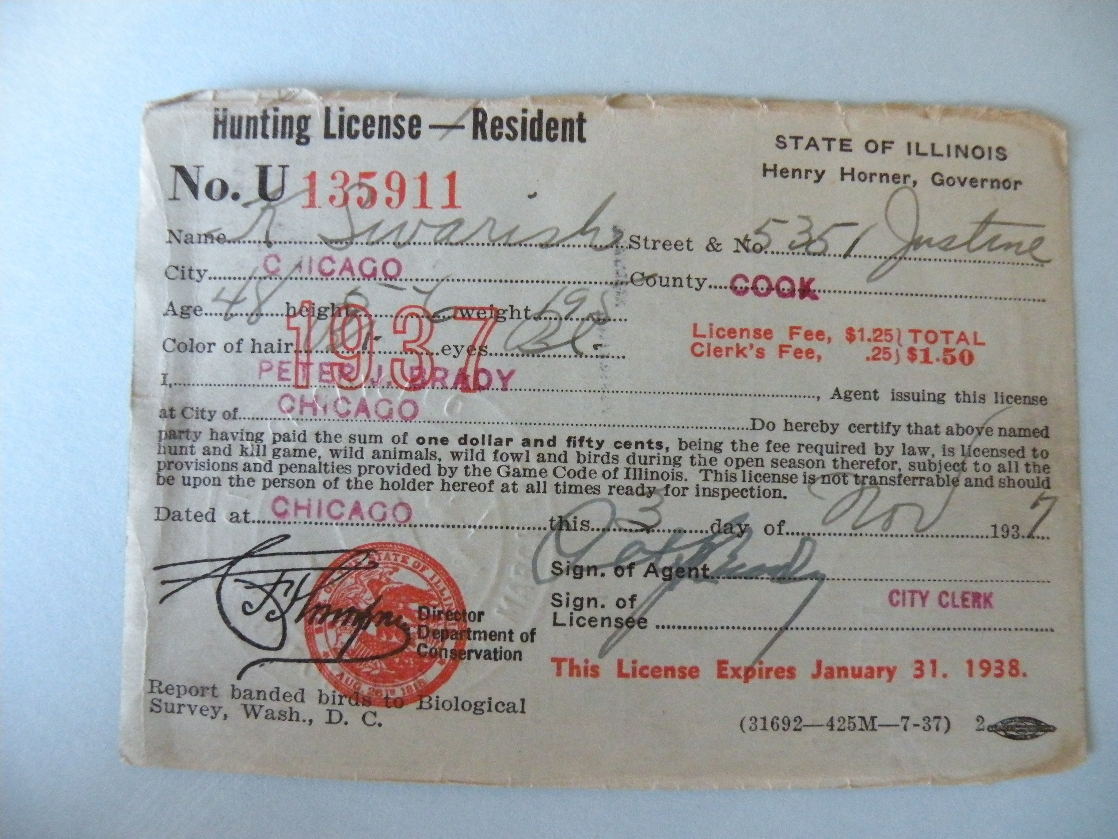 Kostanty gust iwanski 39 s 1937 illinois hunting license for Fishing license il