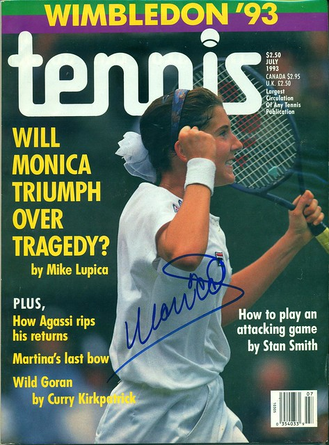 July, 1993, Autographed Tennis Magazine by Monica Seles