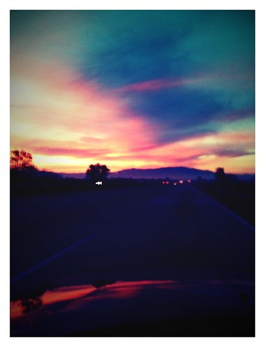 road sunset colors car clouds sunrise iphone