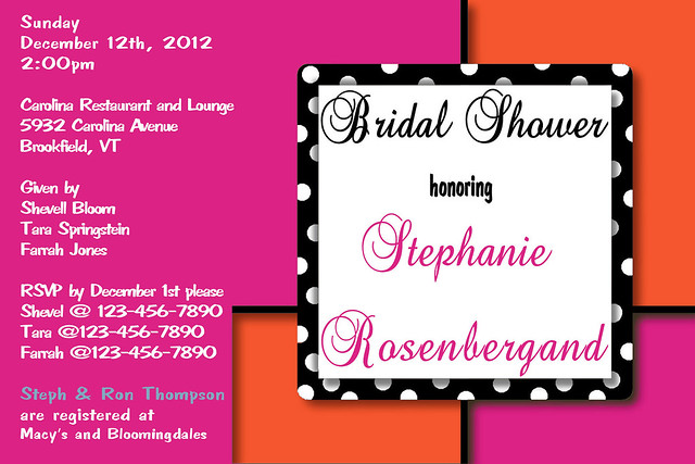 D 5 fuchsia orange custom personalized elegant bridal baby shower