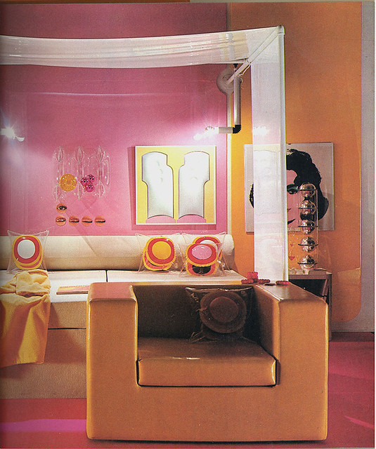 pink orange room warhol painting