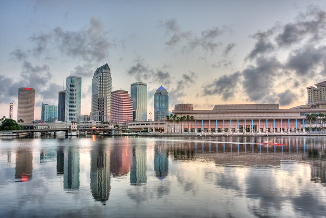 Downtown Tampa and Convention Center Reflected