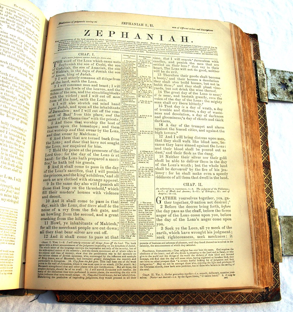 Zephaniah, front page of a book of the Holy Bible, made in 1885, metal clasps, hand printed, gold leaf edging, Puerto Vallarta, Mexico