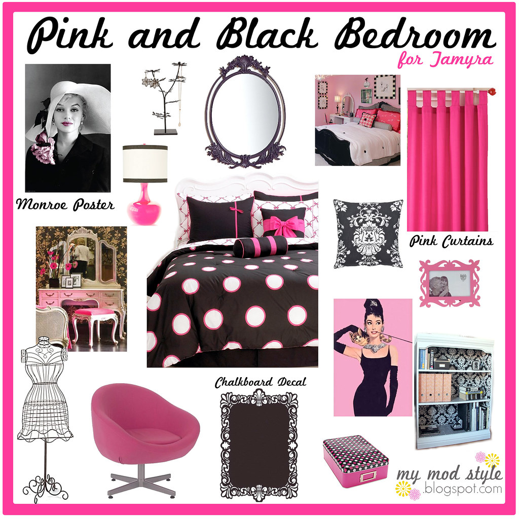 my mod style design board pink black bedroom for tee