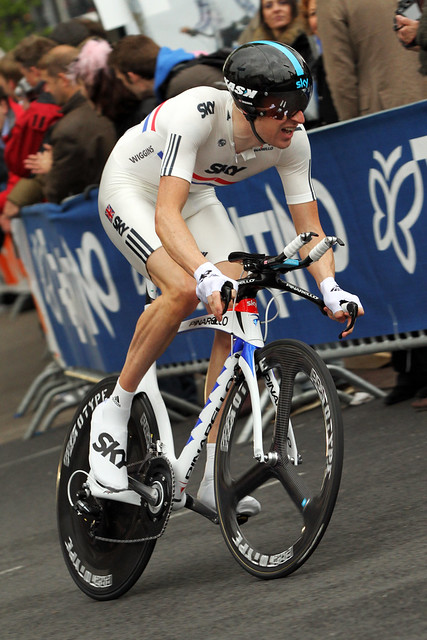 Bradley Wiggens on his way to victory in the prologue of the Giro d