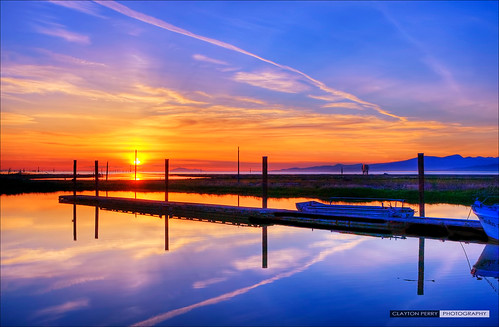 park blue sunset sky orange sun canada water colors skyline vancouver clouds canon reflections spring dock colours bc dusk britishcolumbia over richmond sets hdr steveston georgiastraight garrypointpark garrypoint claytonperry