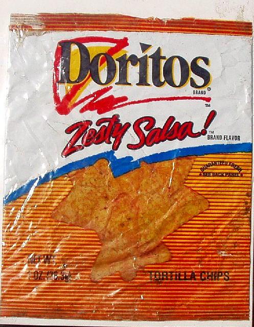 dug: 1990s Doritos Zesty Salsa bag | here is the next logo ... 3d Doritos