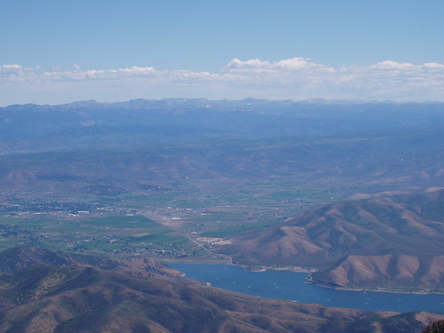 Deer Creek, Heber Valley, and the High Uintas from the summit of Mount Timpanogos.