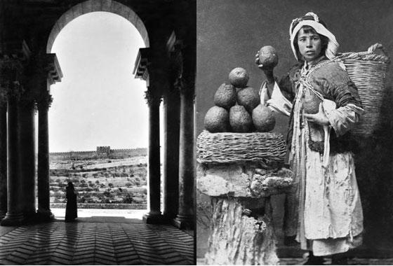 ח'ליל ראאד: שער הזהב במבט ממרפסת כנסיית גת שמנים; נער ערבי מוכר תפוזים, יפו