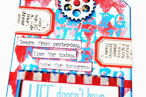 Meihsia Liu Simply Paper Crafts Mixed Media Tag Red White Blue Simon Says Stamp Tim Holtz 3