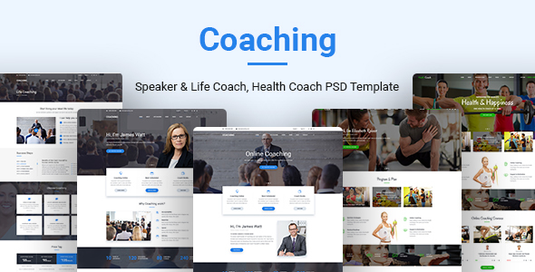 Coaching v1.0 – Speaker & Life Coach, Health Coach PSD Templates