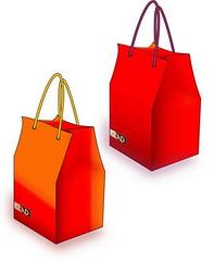 bag, orange, handbag, red, packaging and labeling,