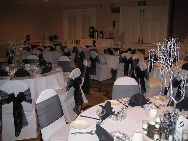 New Years Eve Black White Wedding centerpieces