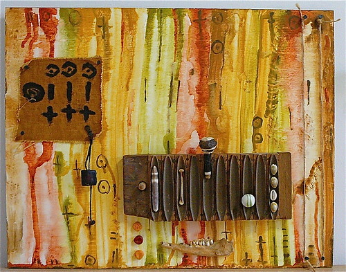 wood orange brown shells green collage painting cord beads rawart folkart outsiderart cross mud assemblage mixedmedia contemporaryart modernart circles teeth sienna exhibition nails selftaught westafrica bracelet expressionism bones artbrut foundobjects cloth mali jawbone twine visionaryart mudcloth primitiveart artonwood artnaif watercolorpaint amuletbracelet africanfetish africanmudcloth cigarmold jenniferbeinhackercom animaljaw makingmudcloth