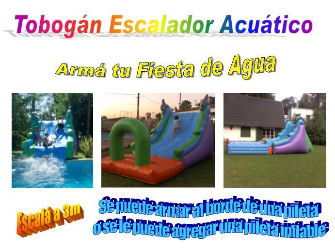 Alquiler tobogan escalador acuatico inflable con o sin for Piletas de agua salada en zona sur