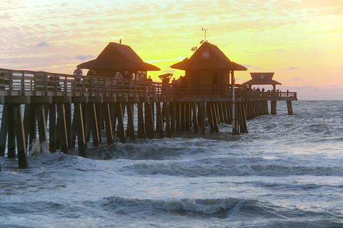 ocean sunset beach gulfofmexico pier gulf pentax florida wave naples k100dsuper photobymikewacht