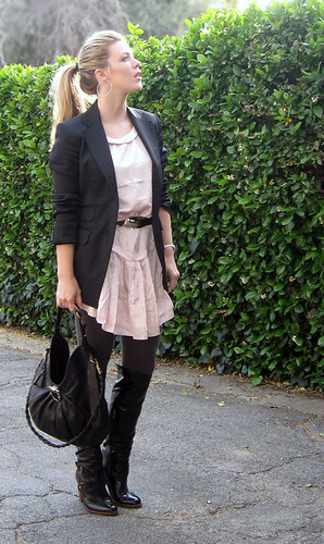 pink dress black blazer 2