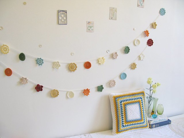 Greta crochet cushion, Ethel and Yvette crochet Forever Flower Garlands by Emma Lamb