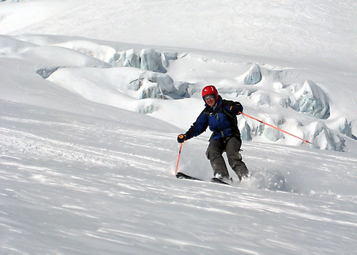 Skiing on the glacier above Chamonix