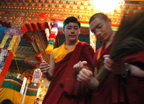 Young Prince - Lama HE Avikritar Rinpoche, Tibetan Lamas prepare the ritual kusha grass for the Hevajra initiates, Sakya Lamdre, Tharlam Monastery of Tibetan Buddhism, Boudha, Kathmandu, Nepal by Wonderlane